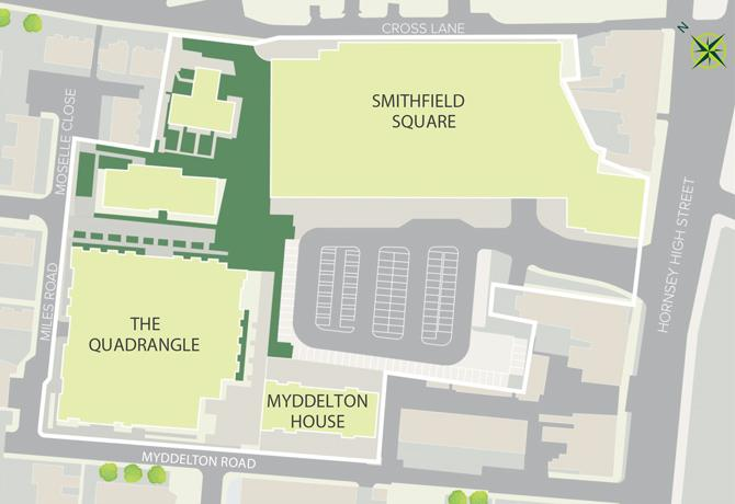 The Quadrangle, Hornsey site plan