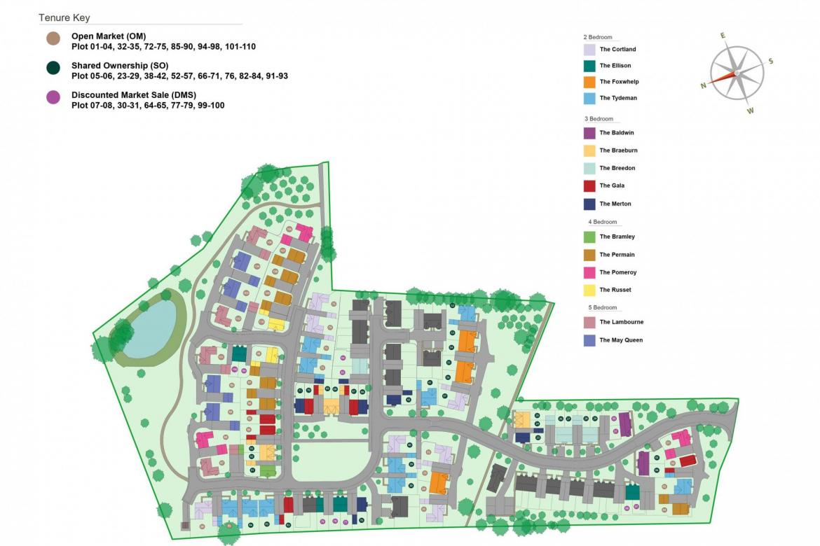 The Orchards New-Build Development Site Plan In Drakes Broughton