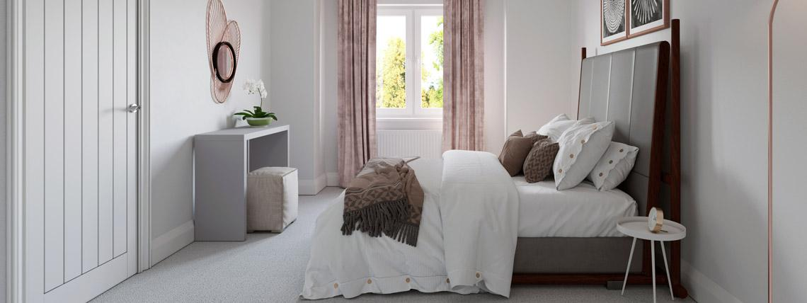 CGI example bedroom from The Avalon at Kingsfield, Glastonbury