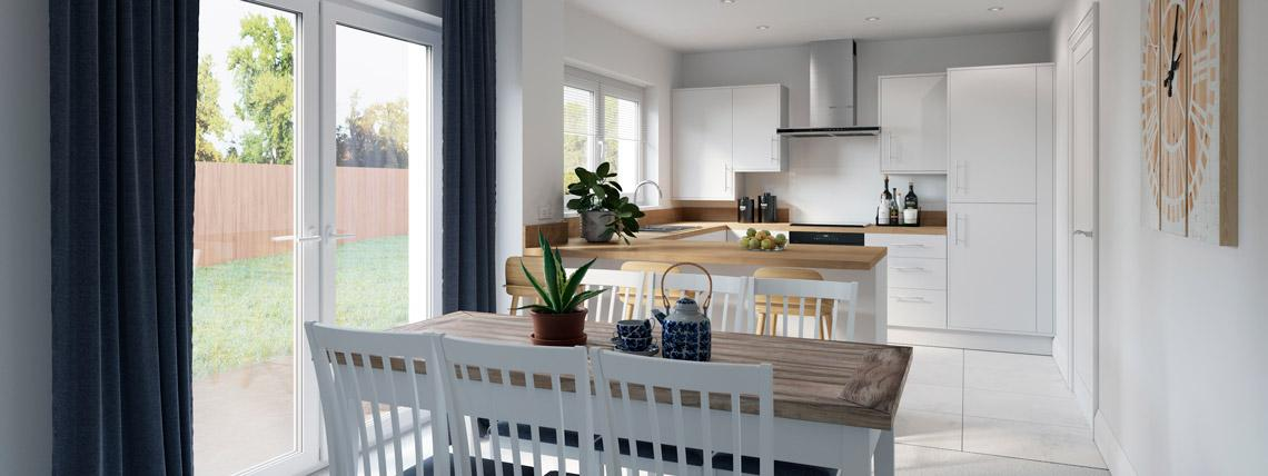 CGI example dining room and kitchen from The Avalon at Kingsfield, Glastonbury
