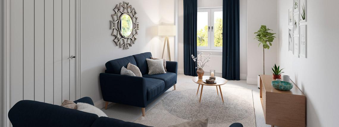 CGI example living room from The Avalon at Kingsfield, Glastonbury