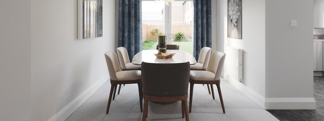 Internal CGI of The Bishop dining room at Kingsfield
