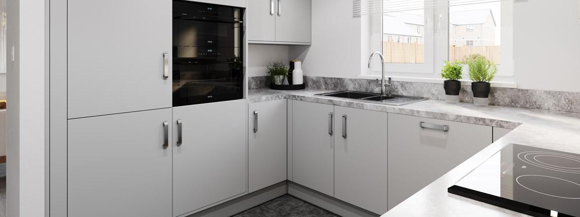 Internal CGI of The Bishop kitchen at Kingsfield