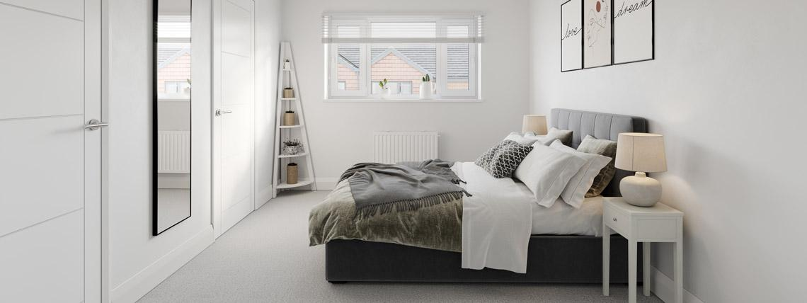 Internal CGI of an example bedroom at our Penny Fields development in Frating.