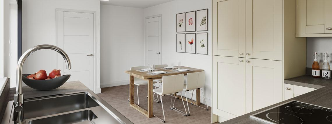 Internal CGI of an example dining area and kitchen at our Penny Fields development in Frating.