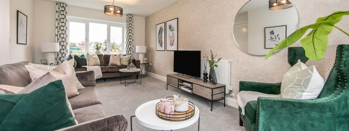 A furnished lounge at a Penny Fields' show home