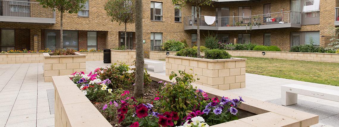 Quadrangle communal garden area