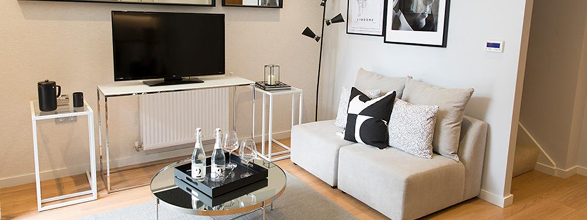 Quadrangle living area duplex apartments