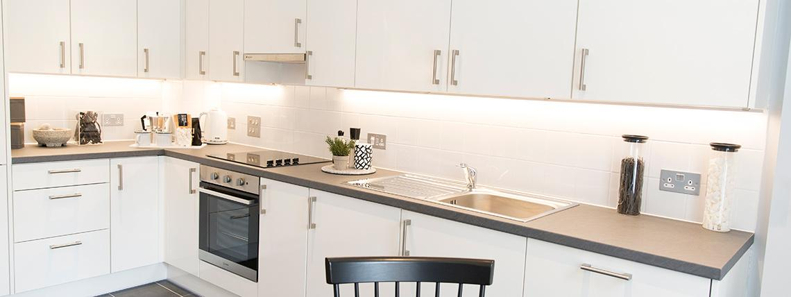 Quadrangle kitchen area duplex apartments