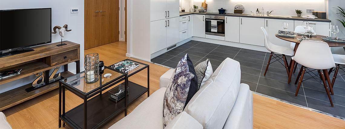 Living area at the Quadrangle Development.