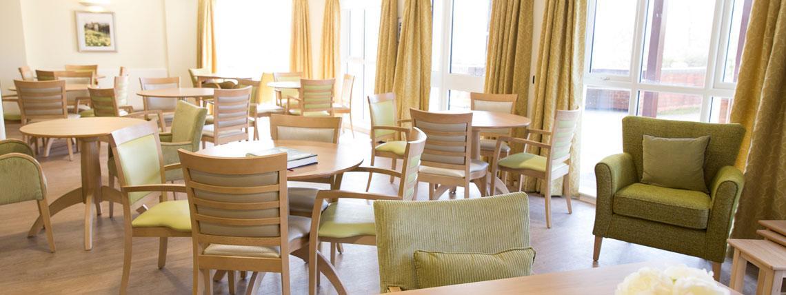 Communal dining area at St Bartholomews Court, Rye.