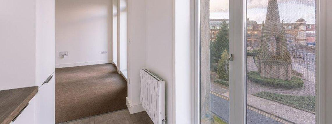 Example lounge and view from our Station Square Development in Harrogate
