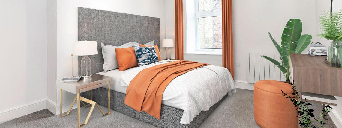 Example bedroom in one of our Station Square apartments in Harrogate.