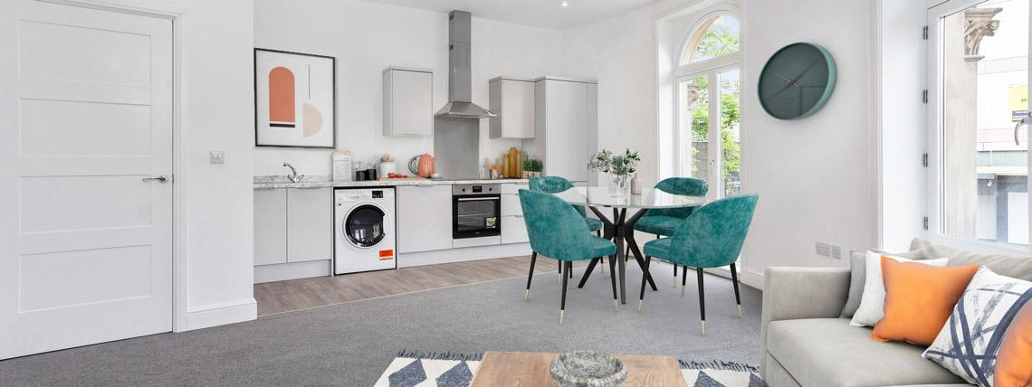 Example kitchen and lounge area in one of our Station Square apartments in Harrogate.