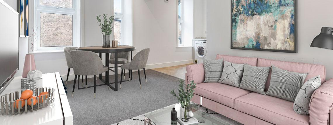 Example  lounge and dining area in one of our Station Square apartments in Harrogate.