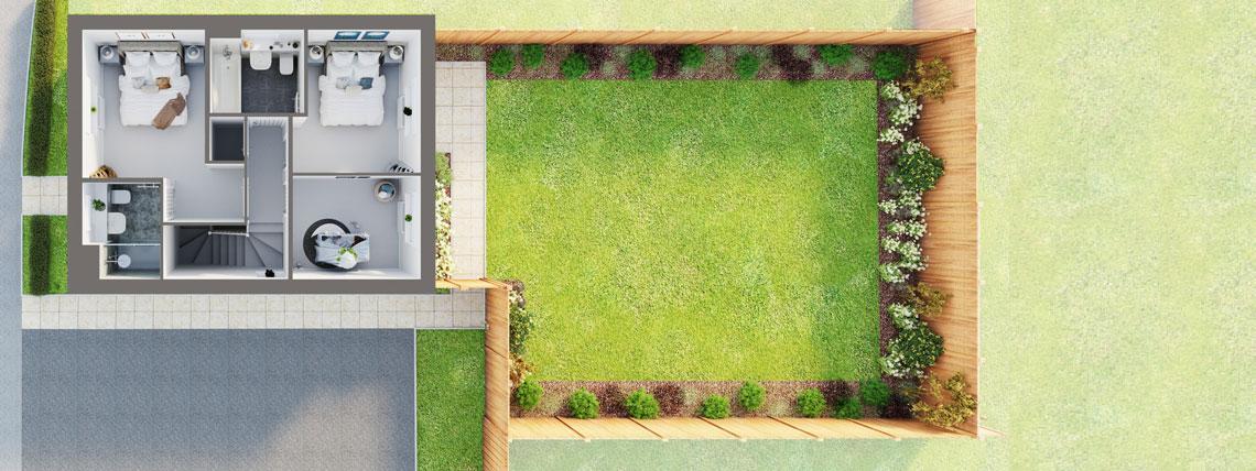 3D floor plan of the first floor of The Bishop at Kingsfield, Glastonbury