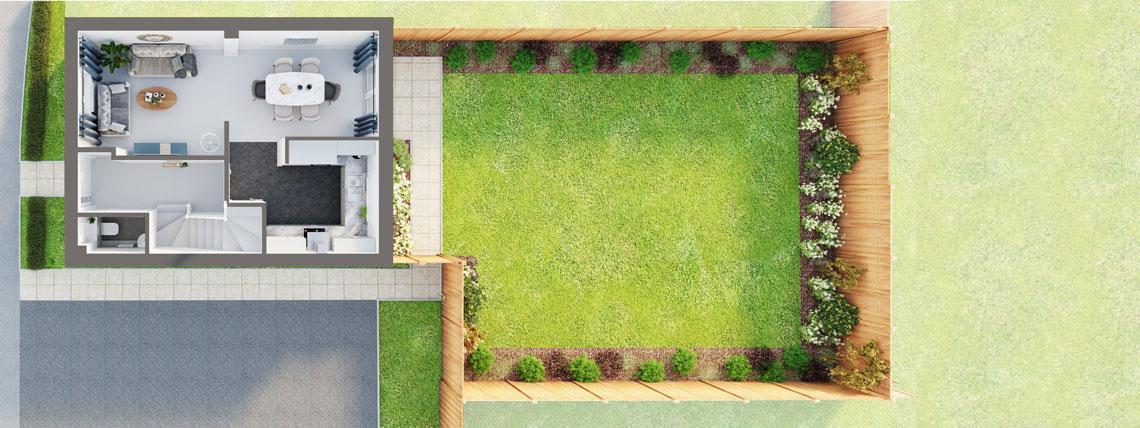 3D floor plan of the ground floor of The Bishop at Kingsfield, Glastonbury