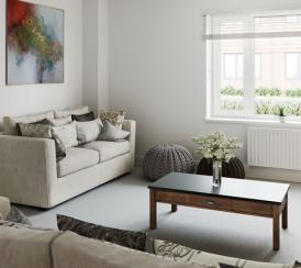 Internal CGI of an example living room at our Penny Fields development in Frating.