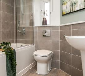 A decorated  bathroom at a Penny Fields' show home