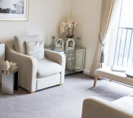 Example lounge and dining area in the Wimborne House apartments