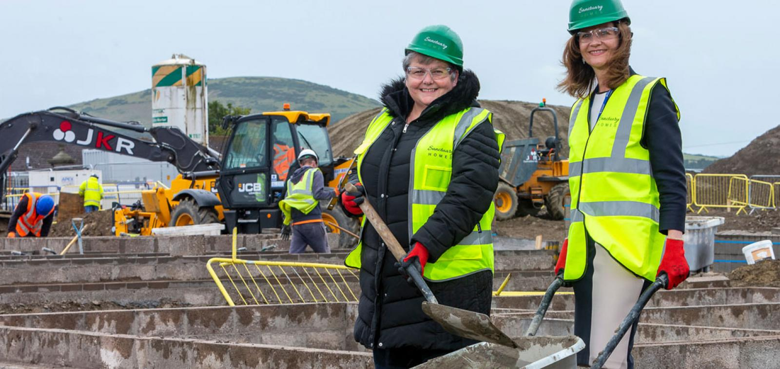 Councillor Anne Stirling and Pat Cahill on the new site in Portsoy.