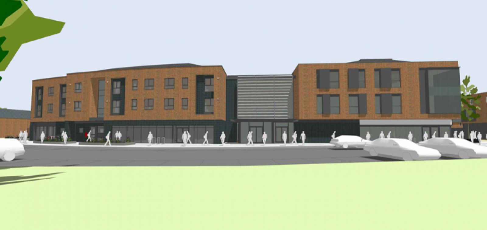 Blacon Health Centre and apartments artist rendering