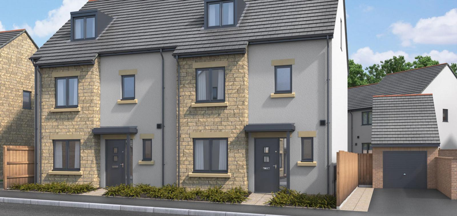 A CGI of one of the house types available at the Kingsfield development.