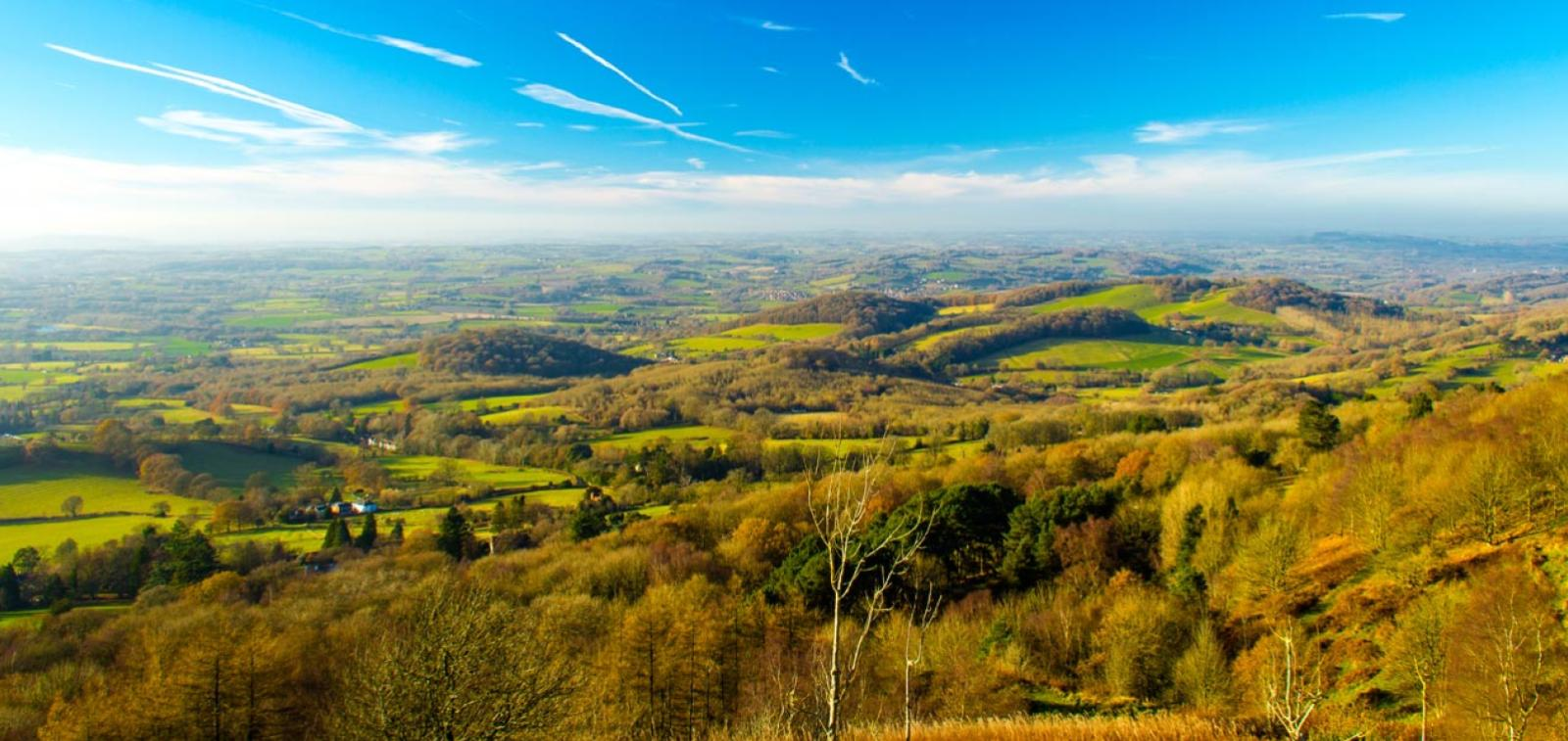 View from the Malvern Hills near to the Broadlands Drive development