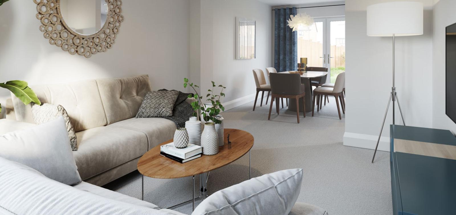 The Bishop living room at Kingsfield, Glastonbury