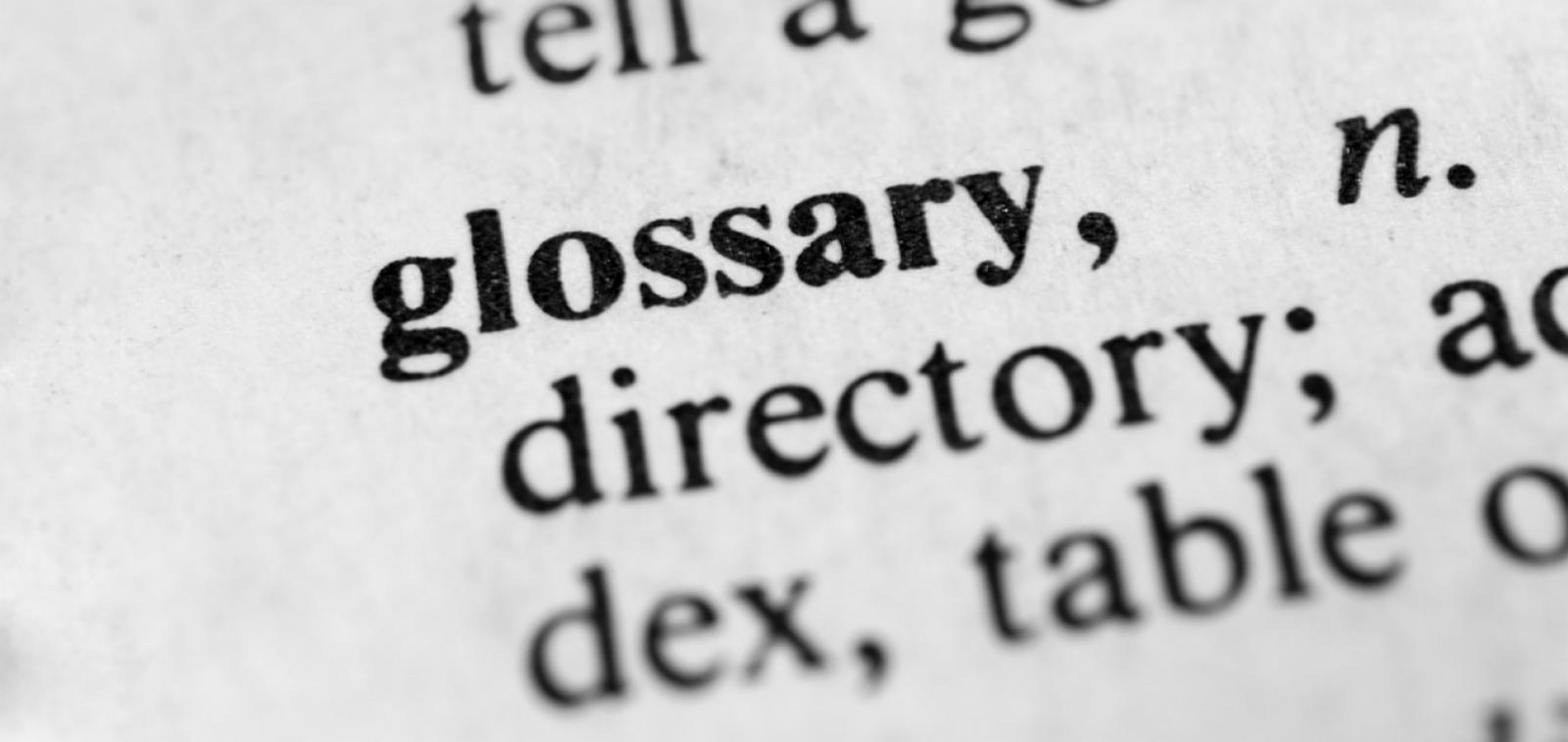 Glossary page displaying the word glossary.