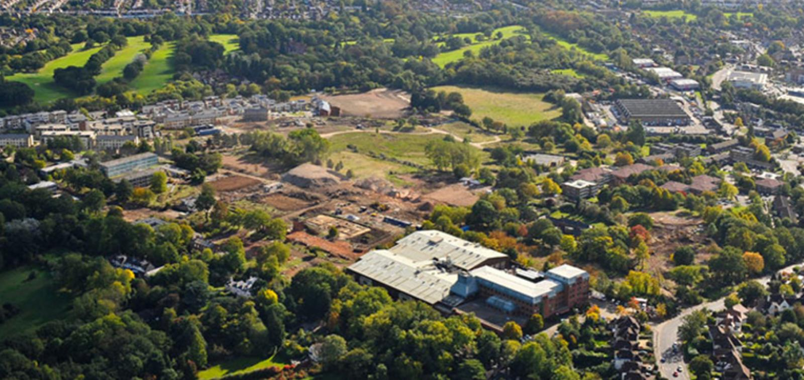 Aerial photo of the Millbrook Park development in North London.