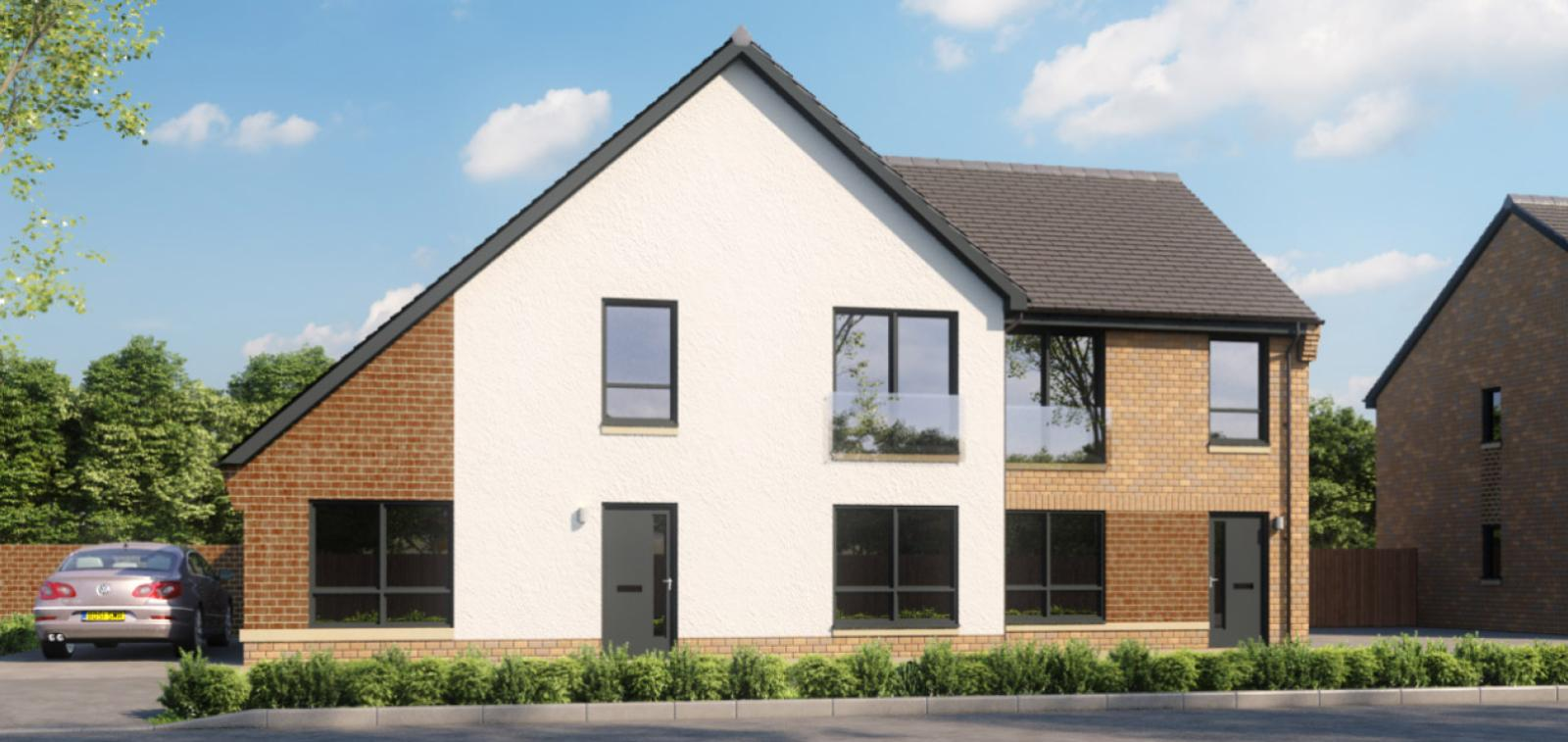External CGI of the Newfield Square development including the Purdon and Meikle property types