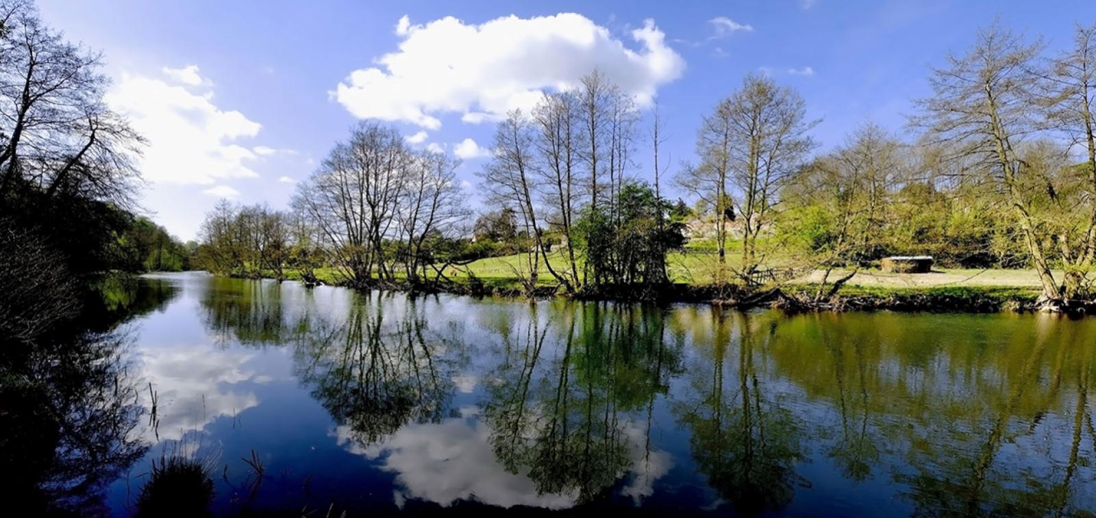 A picturesque landscape view of the River Teme, near Ludlow.