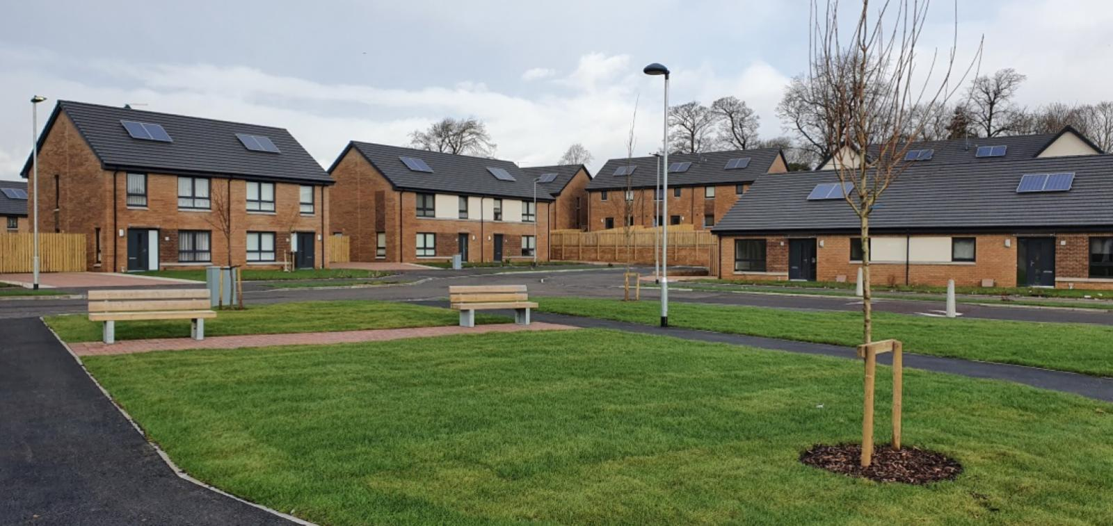 Exterior of Newfield Square, affordable housing development in Glasgow