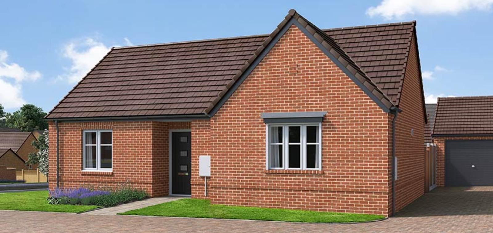 The Proposed Exterior (CGI) Of The Cortland, A 2 Bed Detached Bungalow