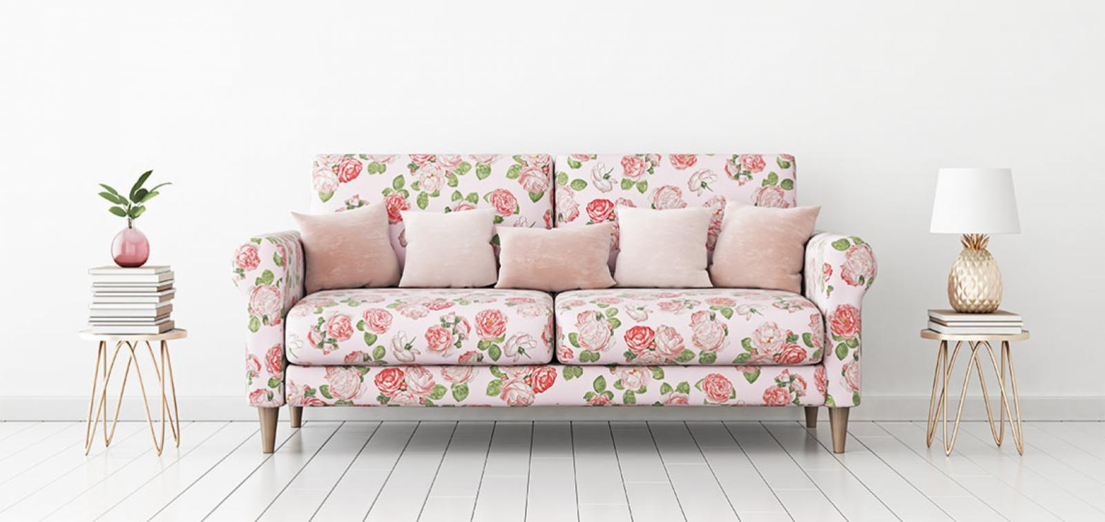 Floral pattern sofa with side tables
